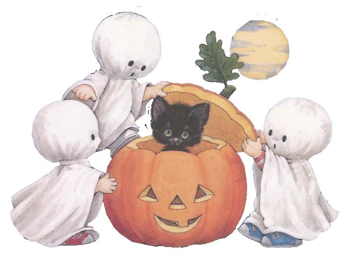 деца си играят на духове, коте в тиква