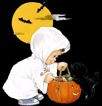 дете, черно коте, тиква, хелоуин