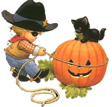 дете и черна котка на хелоуин